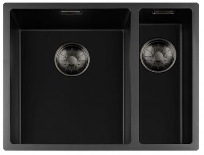 Lorreine zwarte Quartz 1,5 anderhalve spoelbak 3415cm onderbouw vlakbouw en opbouw zwart met gun metal  korfplug 1208954055