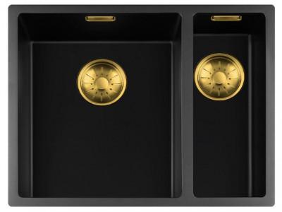 Lorreine zwarte Quartz 1,5 anderhalve spoelbak 3415cm onderbouw vlakbouw en opbouw zwart met gouden korfplug 1208954056