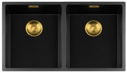 Lorreine zwarte Quartz dubbele spoelbak 3434cm onderbouw vlakbouw en opbouw zwart met gouden korfplug 1208954057