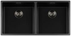 Lorreine zwarte Quartz dubbele spoelbak 4040cm onderbouw vlakbouw en opbouw zwart met gun metal korfplug 1208954061