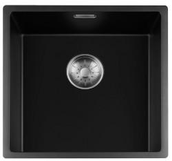Lorreine zwarte Quartz spoelbak 40x40cm onderbouw vlakbouw en opbouw zwart met RVS korfplug 1208954065