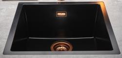 Reginox Texel 40x40 Pure Black zwarte granieten Spoelbak vlakbouw en onderbouw met koperen plug en overloop 1208954070