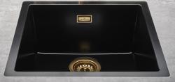 Reginox Texel 40x40 Pure Black zwarte granieten Spoelbak vlakbouw en onderbouw met gouden plug en overloop 1208954071