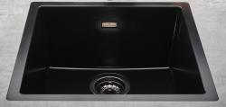 Reginox Amsterdam zwarte spoelbak graniet 40x40 onderbouw en opbouw met gun metal plug en overloop 1208954078