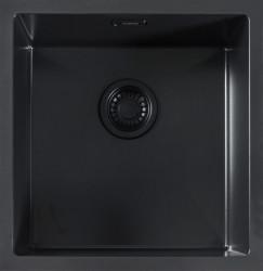 ABK Bingara BIN40fBL zwart emaille spoelbak 40 onderbouw met zwarte plug en overloop 1208952445