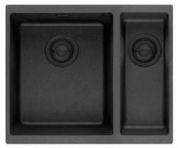 Ausmann Nero mat zwart 1,5 anderhalve spoelbak rvs 3415 34x40+15x40cm vlakinbouw onderbouw en opbouw 1208954450