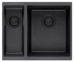 Ausmann Nero mat zwart 1,5 anderhalve spoelbak rvs 1534 15x40+34x40cm vlakinbouw onderbouw en opbouw 1208954452