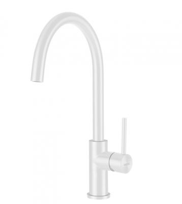 Lorreine Luxe keukenkraan volledig roestvrijstaal met draaibare uitloop mat wit 1208954607