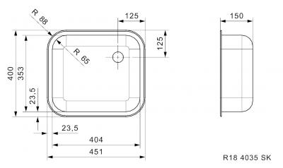 Reginox Spoelbak R184035 OSK Opbouw B2814RLU02GDS
