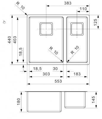 Reginox Texas R10 buitenradius 30x40 + 18x40 dubbele RVS spoelbak B09T5LLU07GDS.10